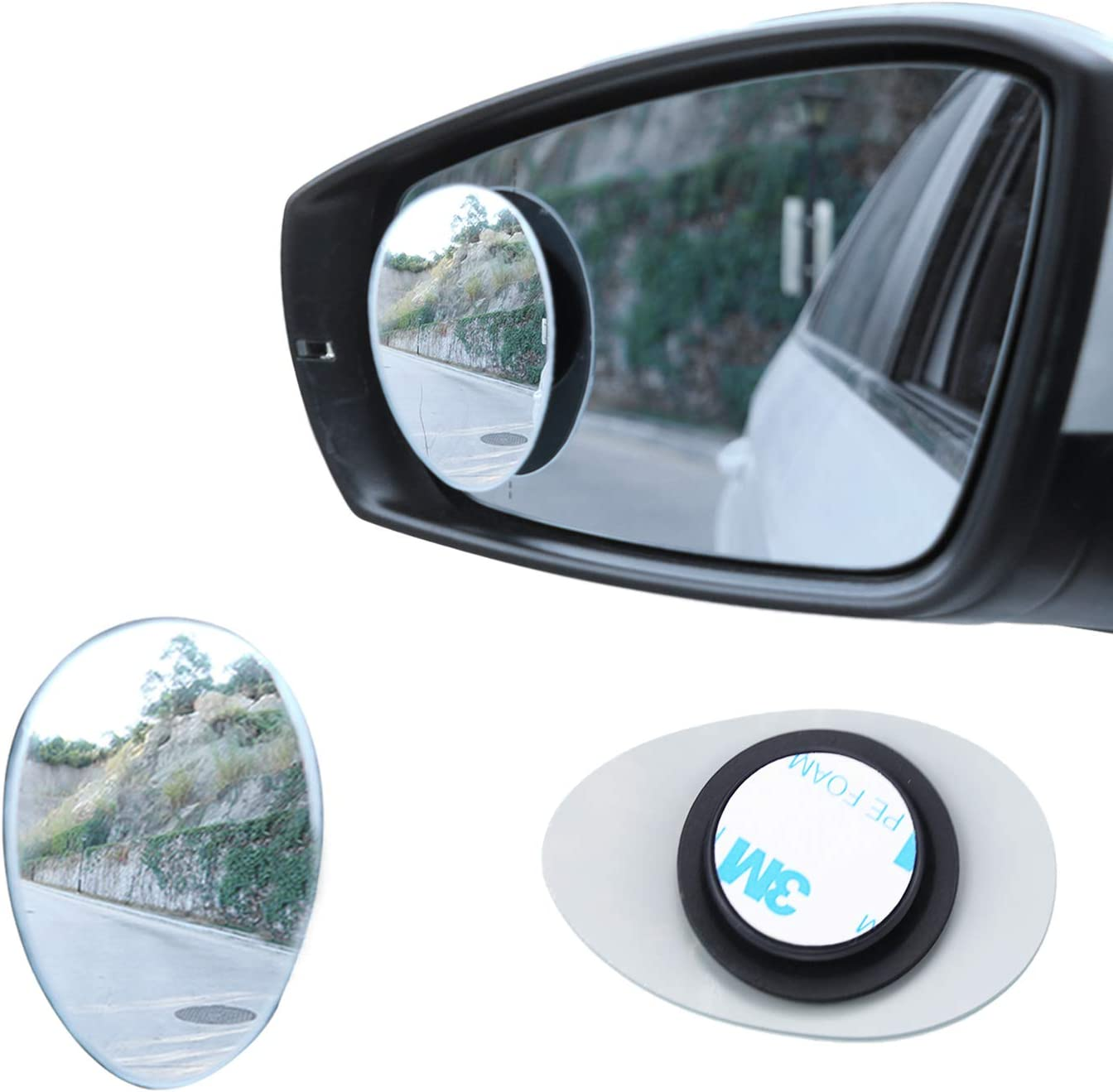 LivTee Blind Spot Mirror, Oval HD Glass Frameless Convex RearView Mirror with wide angle Adjustable Stick for Cars SUV and Trucks, Pack of 2