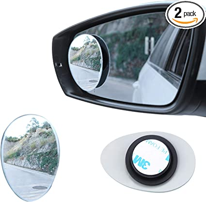 Two Pair 4 Pcs Blind Spot Mirrors,Rectangle Wide Angle Car Wing Mirror 360/°Rotatable Waterproof Convex Blind Spot Stick On Side Mirror,