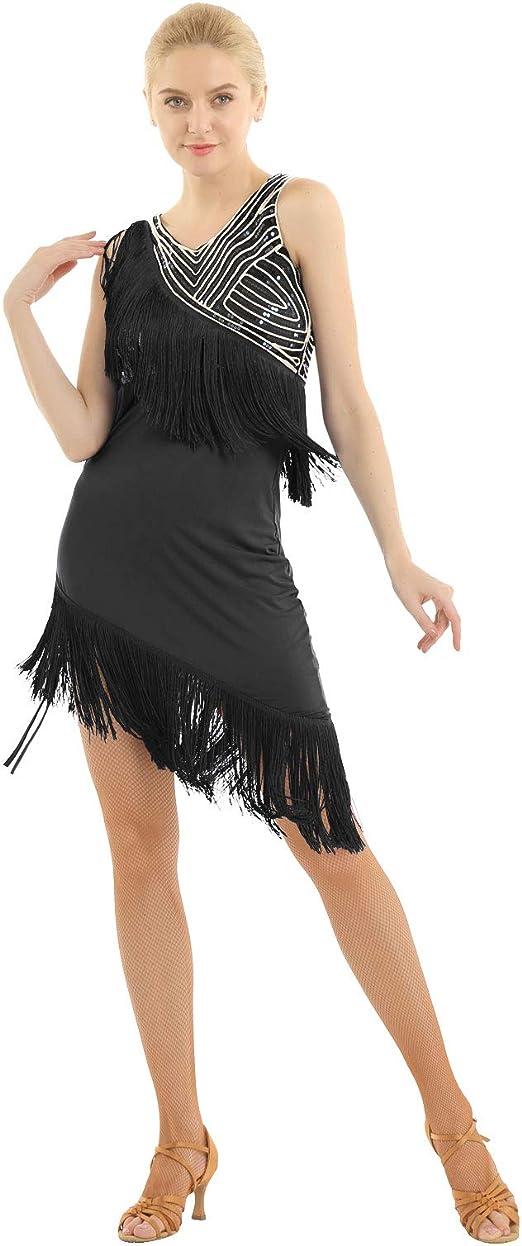 Women Sequined Latin Dress Costume Salsa Tango Rumba Samba Ballroom Dance Skirts
