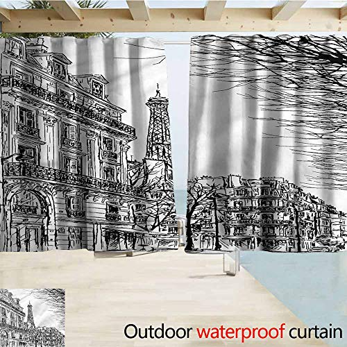 Beihai1Sun Doorway Curtain Paris Parisian Street with Trees Drapes for Outdoor Decor W63x45L Inches ()