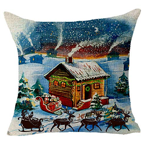 Queen's designer Merry Christmas Snow Scene Cabin Sled Deer Cotton Linen Decorative Throw Pillow Case Cushion Cover Square 18