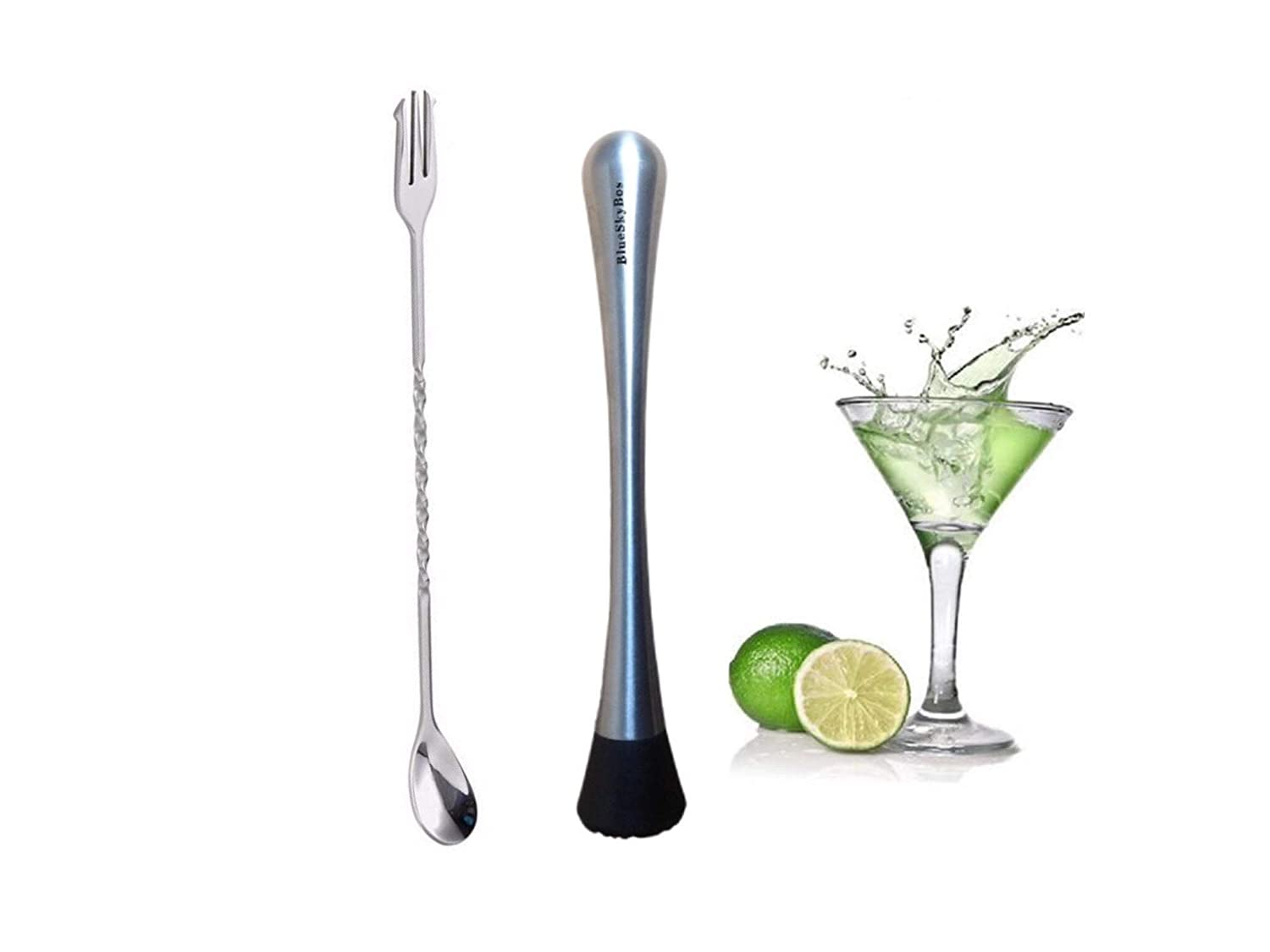 BlueSkyBos Stainless Steel Cocktail Muddler Mixed Spoon, Mashes Fruits, Herbs and Spices for Cocktails - Professional Grade Bar Tool - Make Perfect Mojitos, Old Fashioneds, Mint Juleps & Many Others