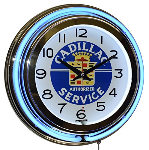 Cadillac Authorized Service Blue Double Neon Advertising Clock Man Cave Garage ()