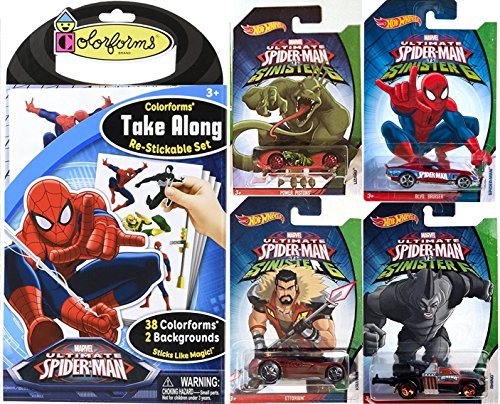 Spider-Man VS Sinister 6 Villains Hot Wheels Exclusive car 4-Pack & Ultimate Colorforms Stickable set Super Hero Toy Character (Green Goblin Costume 2016)
