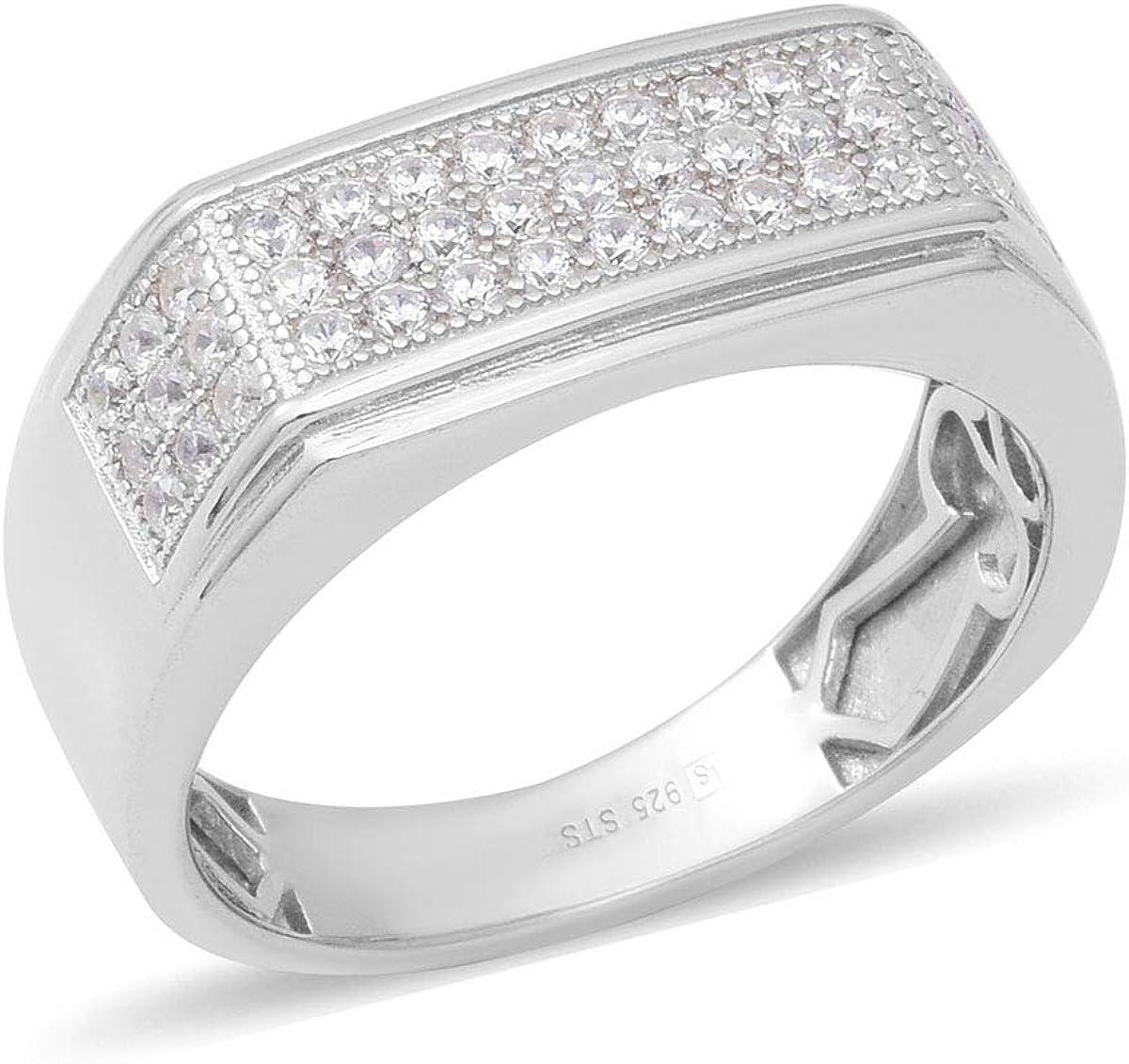 Shop LC Delivering Joy Silvertone Round Cubic Zircon CZ Blue Statement Ring for Women Cttw 0.8