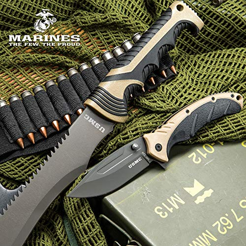 (USMC Blood Brothers 2-Piece Knife Set - Barong Style Machete and Assisted Opening / Spring Assist Pocket Knife / Folder - Stainless Steel, Glass Breaker, Nylon Sheath - Tactical Survival Outdoors)