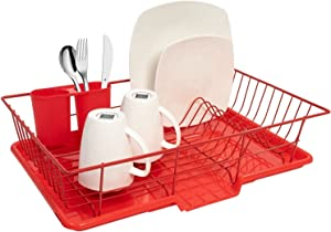 Sweet Home Collection Dish Drainer Red 3-piece Set