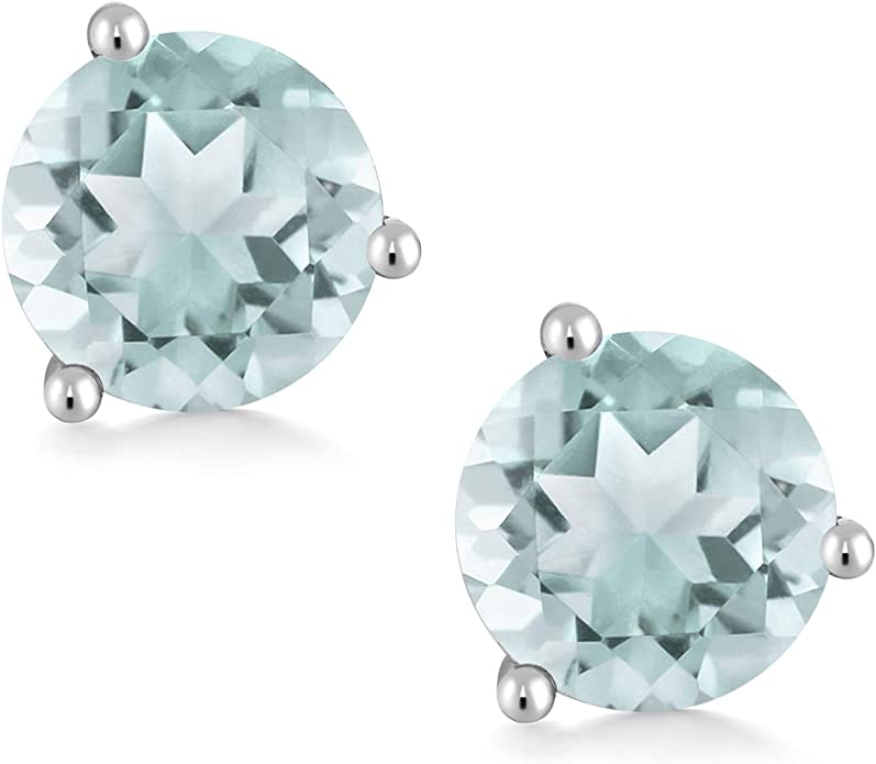 18K White Gold 1.80 Ct Round 6mm Swiss Blue Topaz 3-Prong Martini Stud Earrings