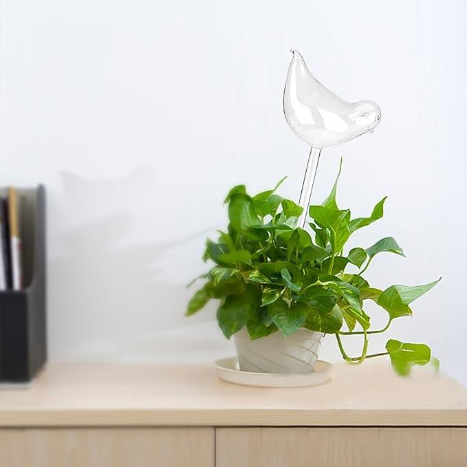 Glass Plant Flowers Water Feeder Self Watering Bird Design Plant Waterings In UK