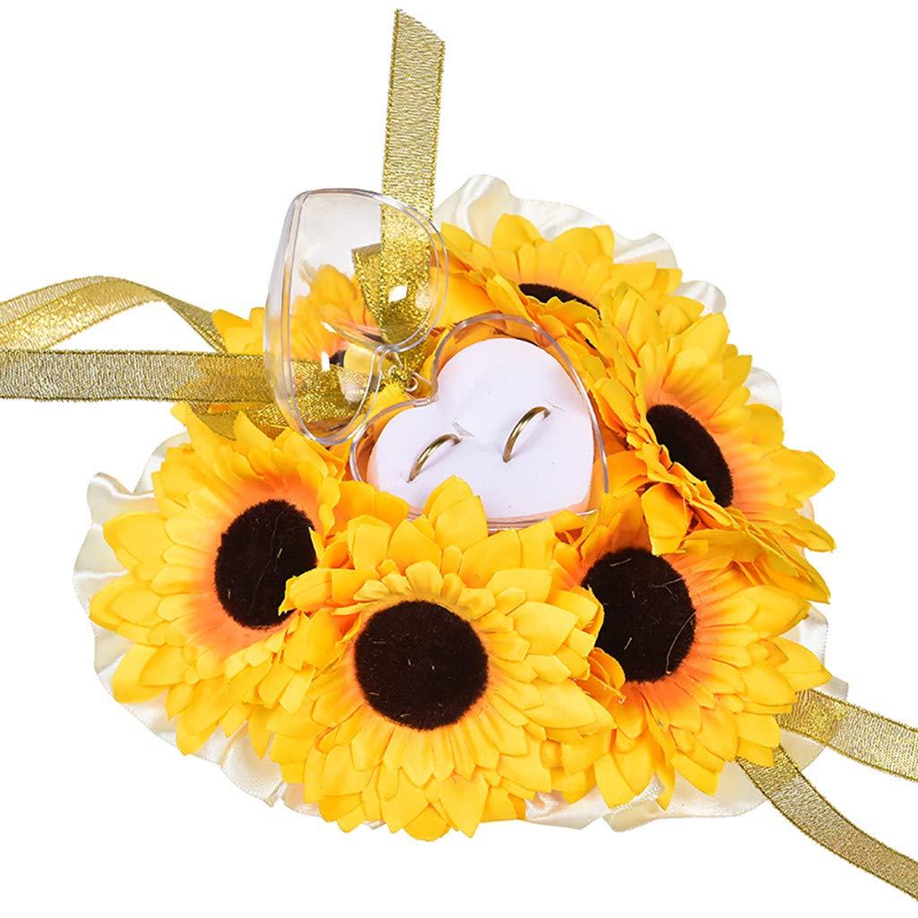 FiedFikt Decorazione Nuziale Yellow Accessori per Matrimonio Colore: Giallo//Bianco 19 x 19 cm portagioie Cuscino Porta FEDI Nuziali con Perle e Fiori