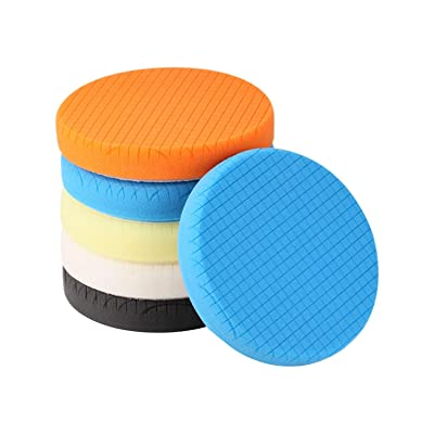 "SPTA 5Pcs 5.5"" Face for 5"" Backing Plate Compound Buffing Sponge Pads Polishing Pads Kit Buffing Pad for Car Buffer Polisher Sanding,Polishing,Waxing: Automotive"