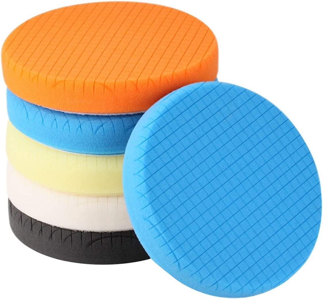 "SPTA 5Pcs 5.5"" Face for 5"" Backing Plate Compound Buffing Sponge Pads Polishing Pads Kit Buffing Pad for Car Buffer Polisher Sanding,Polishing,Waxing"