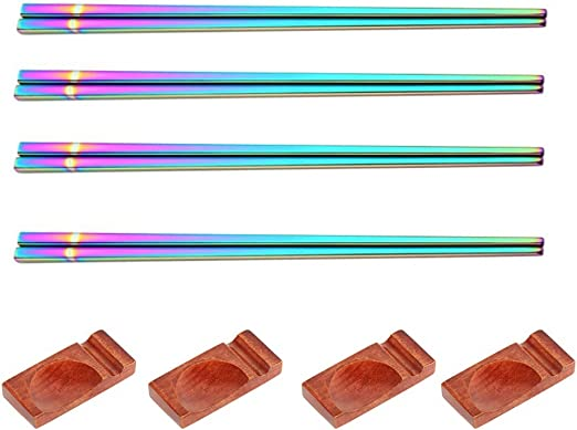 1 Pair Colorful Chopsticks Metal Stainless Steel Reusable Holographic Rainbow