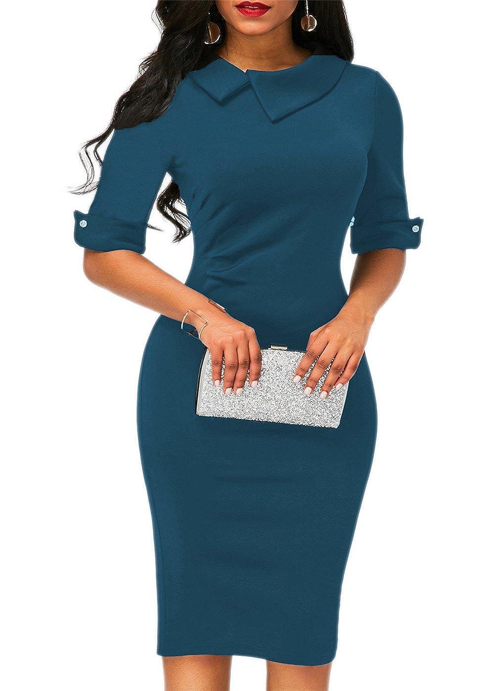 KISSMODA Women's Below Casual Plested Tunic Tops Dress Jumpsuit
