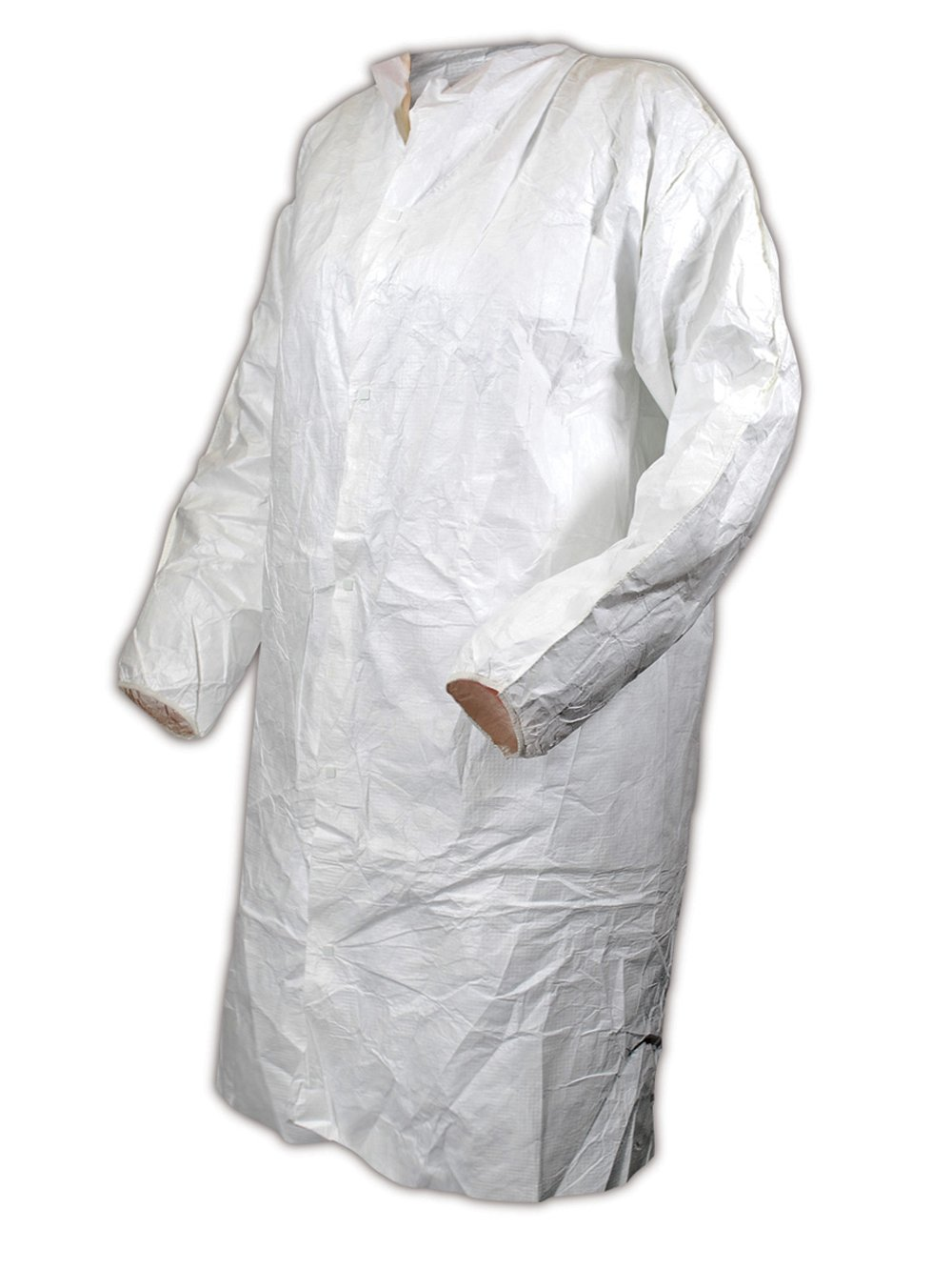 Magid CC111L EconoWear Tyvek Disposable Lab Coat, Large, White (Case of 30)