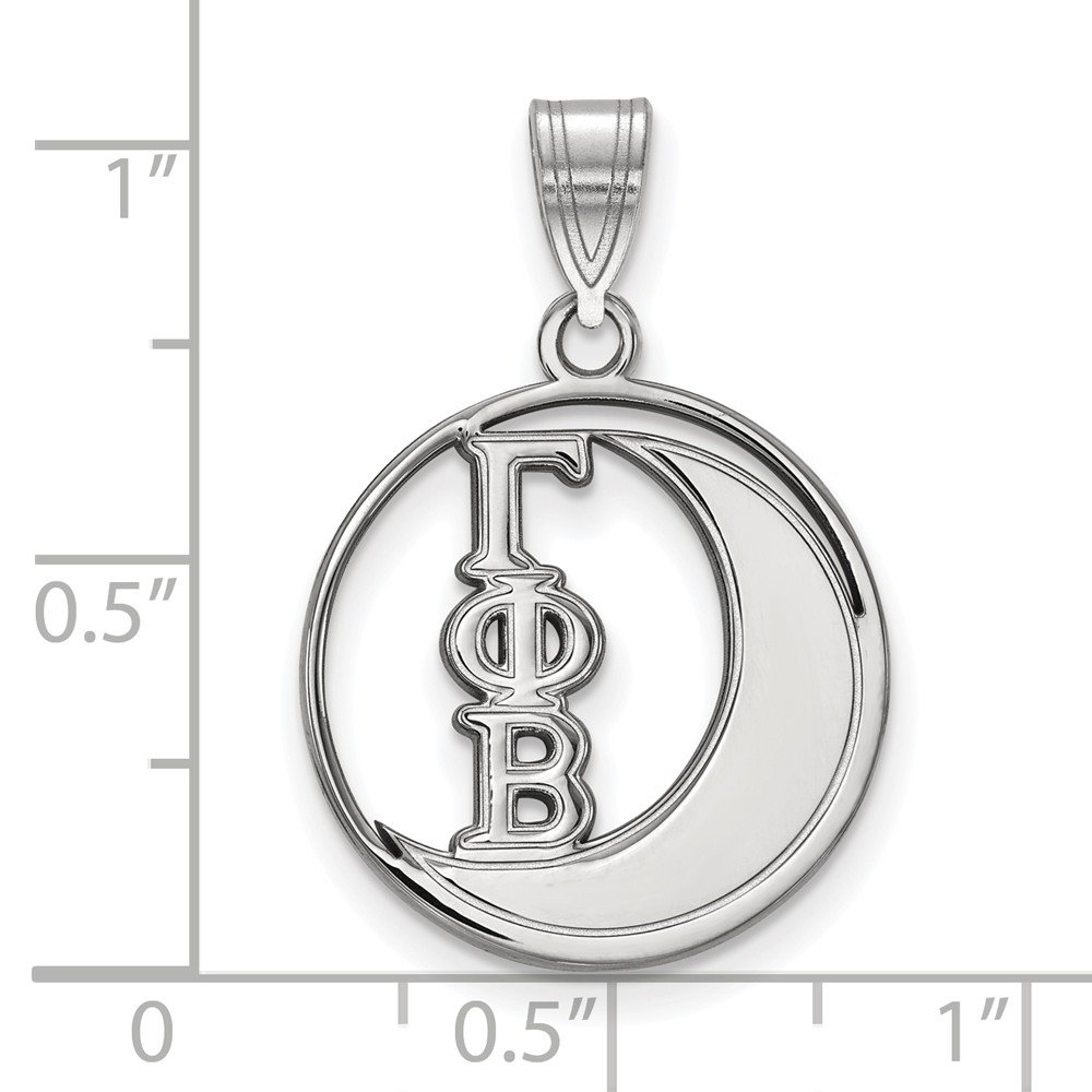Solid 925 Sterling Silver Gamma Phi Beta Small Circle Pendant