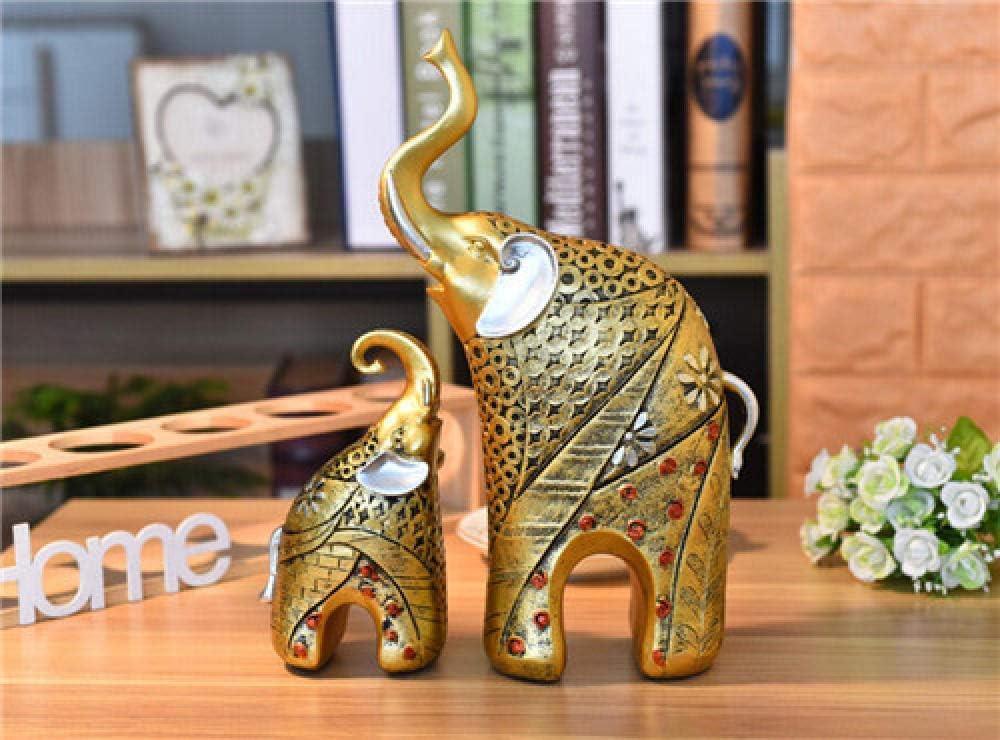 COCECOCE Escultura Esculturas de Animales de jardín Artesanías de Resina Estatuillas Tailandia Exótica Antigua Elefante Madre Pintura de Elefante Adornos de Elefante para Padres e Hijos Regalos-Plata