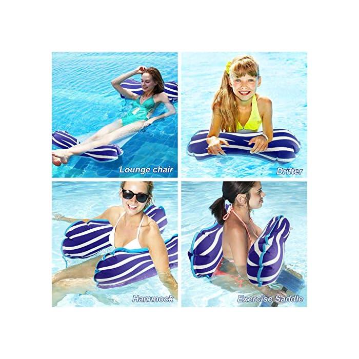 61C%2B6vfzEtL 【Alta calidad】El flotador de la piscina está hecho con PVC de alta calidad que es duradero y ecológico con una superficie suave, lo que garantiza que no se dañe ni raye. Algunas telas se desvanecen, desgarran o encogen fácilmente, sin embargo, la nuestra puede conservar su forma, color y rendimiento originales incluso después de muchos usos. 【Hamaca Flotante Versátil】El verano está aquí, y probablemente estés preparando las cosas para los días de ocio alrededor de la piscina. ¡Entonces deberías considerar este flotador de piscina! Puede usarlo como una hamaca, una silla de descanso, un vagabundo o una silla de montar, y pasar un día realmente encantador jugando y relajándose en el agua. 【Relajante y cómodo】¡Lleva tu flotador de piscina Aiglam a la piscina para disfrutar todo el día de puro placer! Está semi-sumergido para una mayor comodidad de enfriamiento, y está diseñado ergonómicamente para brindar un gran apoyo a todo su cuerpo con su almohada flotante, el asiento central de malla y el cómodo reposapiés.