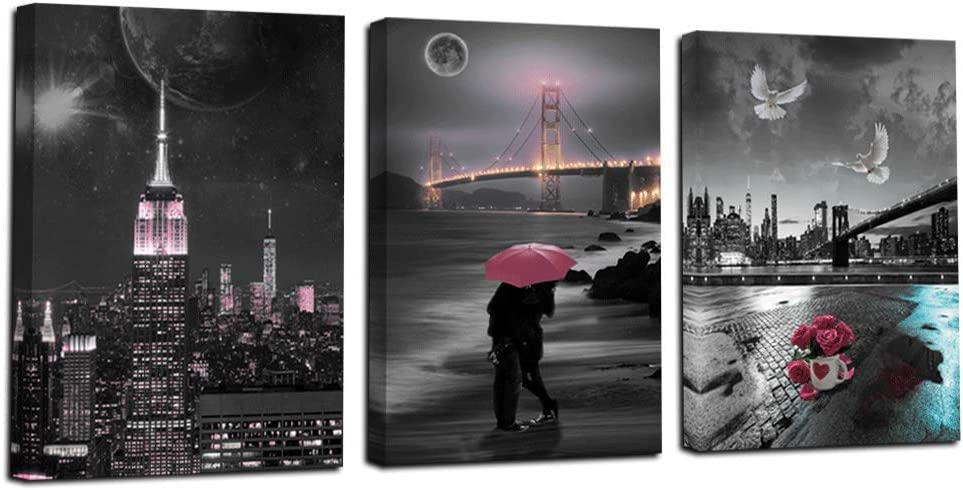 "Acocifi Canvas Wall Art Modern Cityscape Painting Golden Gate Bridge Pictures Romantic Couples Prints Pink Flowers Artwork for Bedroom Living Room Bathroom Home Decor -12""x16""x3 Panels, Original Design"