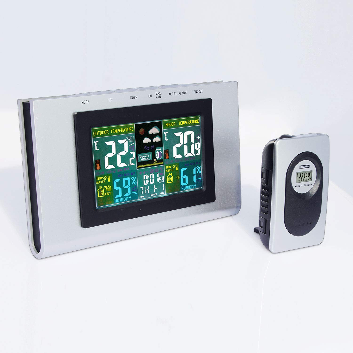 Digital Wireless Weather Station Indoor / Outdoor Wireless Sensor Hygrometer Thermometer with Large Colorful Black Light LCD Screen Alarm Clock Calendar Forecasting Monitoring for Home Hotel Office