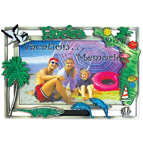 "Rockin Gear Florida Picture Frame Heavy Pewter 4"" x 6"" Souvenir Picture Frame for Wall or Table Top (Florida)"