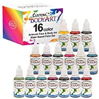 Custom Body Art Set of 16 Colors 1-oz Bottles of Water Based Face-Body Airbrush Colors