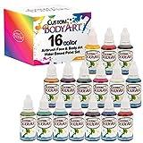 Custom Body Art Set of 16 Colors 1-oz Bottles of Water Based Face-Body Airbrush Colors