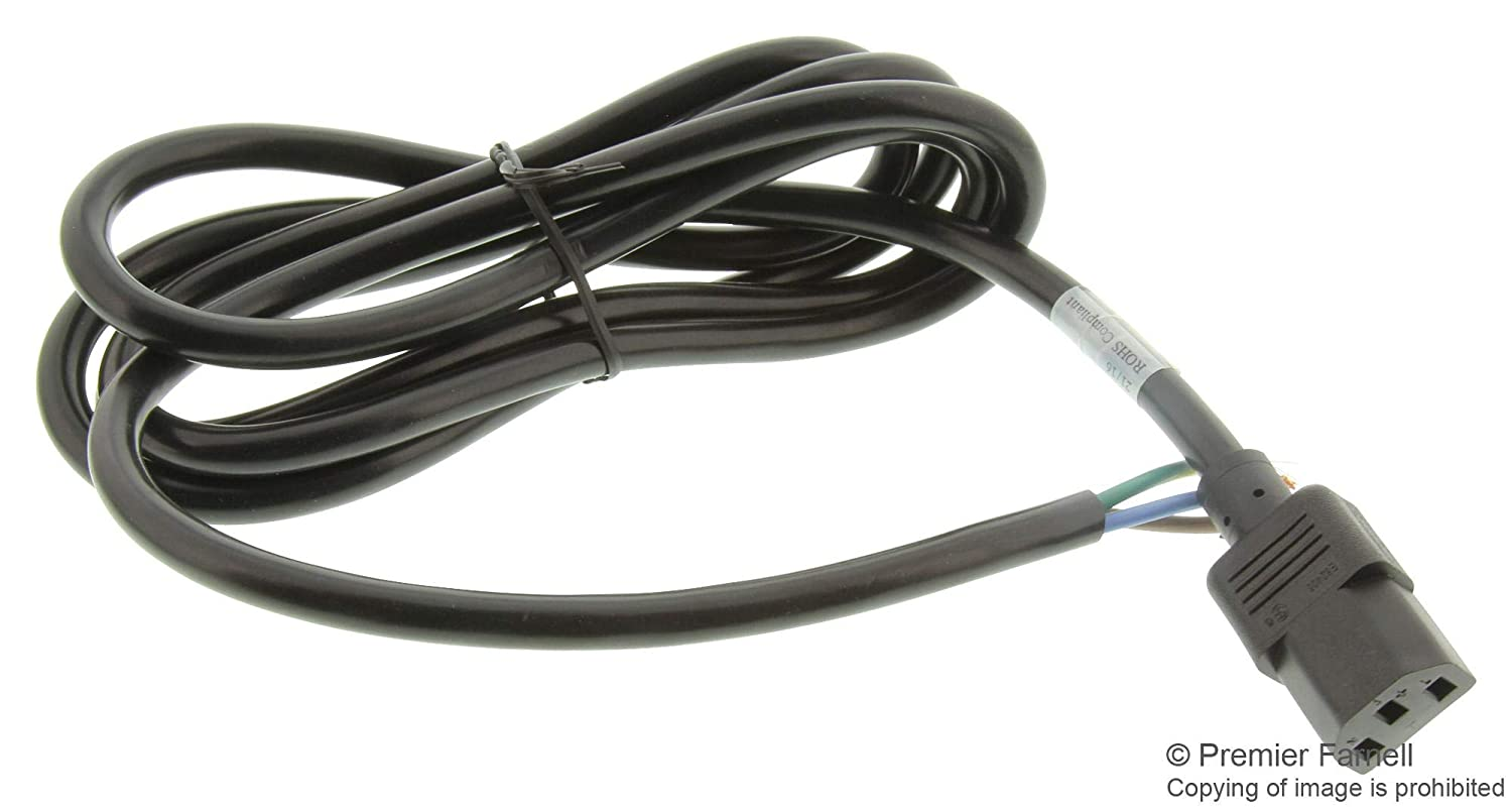 Black 17520 Free End -17520 125 VAC IEC 60320 C13 2 m Mains Power Cord 16 AWG 13 A Pack of 5