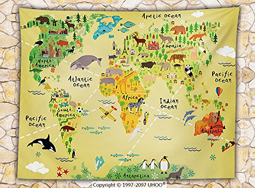 Kids Decor Fleece Throw Blanket Educational World Map Africa America Penguins Atlantic Pacific Ocean Animals Australia Panda Throw by iPrint