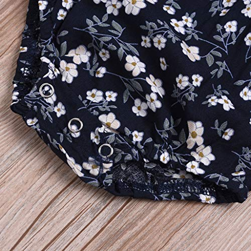 NUWFOR Newborn Infant Baby Girl Floral Flower Rompert Bodysuit Outfits Clothes (Navy,3-6 Months) by NUWFOR (Image #4)