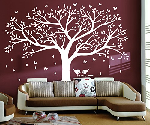 """LSKOO Family Photo Frame Tree Wall Decals Family Tree Decal Living Room Home Decor (108"""" wide x 84"""" tall) (White)"""