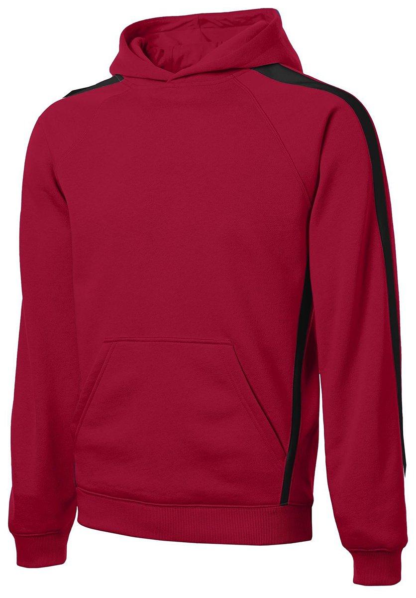 Sport-Tek Men's Tall Sleeve Stripe Pullover Hooded 4XLT True Red/Black by Sport-Tek