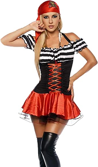 BOLAWOO-77 Mujer Disfraz Pirata para Carnaval Vestidos De Fiesta ...