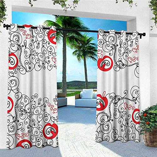leinuoyi Red and Black, Outdoor Curtain Extra Long, Minimalist Home Design Themed Sketchy Birds Swirls and Apple Shapes, Fashions Drape W120 x L108 Inch Scarlet and White