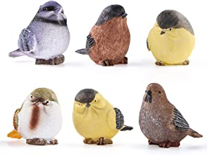 Sanbege Bird Statues, Bird Figurine Home Decor, Bird Sculpture for Garden, Birdhouse, Bird Theme Decor, Set of 6
