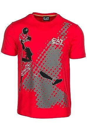 63e75647cc7f Emporio Armani EA7 Men s Short Sleeve t-Shirt Crew Neckline Jumper Red UK  Size M