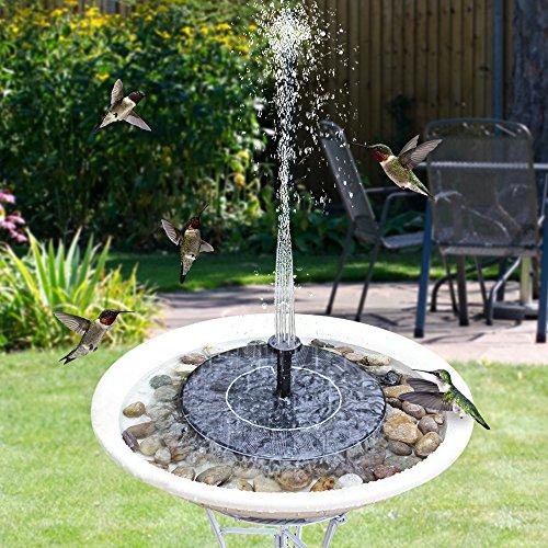 Feelle Solar Fountain Pump with Battery Backup, Solar Powered Bird Bath Fountain 1.5W Upgraded Solar Panel Kit Water Pump for Birdbath, Pond, Pool,Garden and Lawn