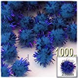 The Crafts Outlet Chenille Sparkly Pom Poms, Blue porcupine, 1.0-inch (25-mm), 1000-pc, Royal Blue