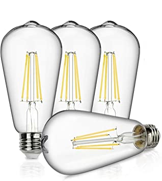 60 Watt, 12 Pack Vintage LED Edison Bulbs LDYS ST64 Antique LED Filament Bulb 2700K 600LM Warm White Light Bulb Non Dimmable Clear Glass E26 Lamp Base