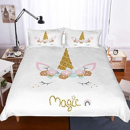 c268f57ce3 APJJQ Unicorn Duvet Cover Set King Size,Pink Floral Eyelashes Unicorn Head  with Twikkle Gold