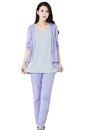 7b7dfa34fbfe9 Epinmammy Women's Maternity 3 Pieces Sleepwear Set Nursing Pajamas for  Breastfeeding at Amazon Women's Clothing store: