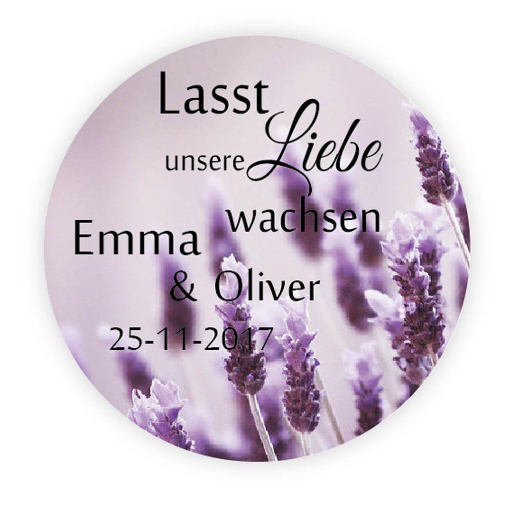 48 Personalisiert Lavendel Hochzeitssticker Lasst Unsere Liebe Wachsen Aufkleber 4 Cm Selbstklebende Etiketten Für Die