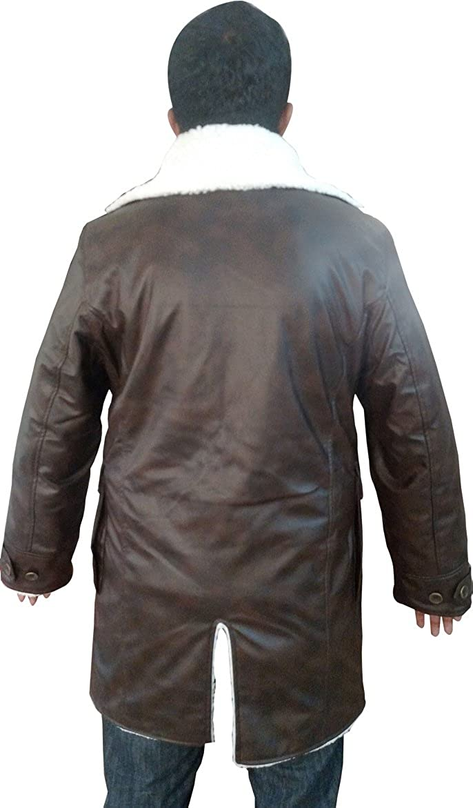 Bestzo Mens Fashion Dark Knight Rises Real Leather Bane Coat with Shearling Artificial Fur XS-5XL