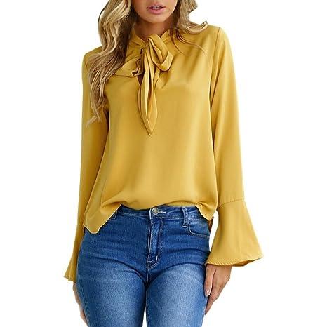 Camisas mujer ❤ Amlaiworld Blusa de manga larga flare Tops de moda para mujer tops