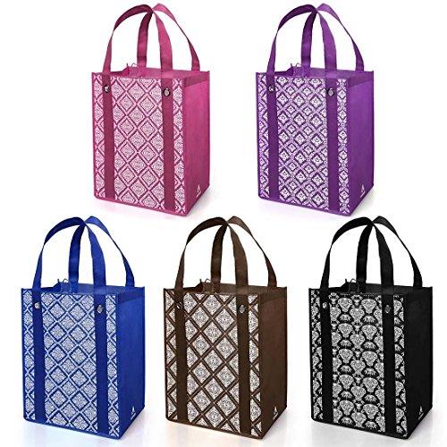 Avery Barn 5pc Damask Design Grommet Reinforced Reusable Grocery Shopping ()