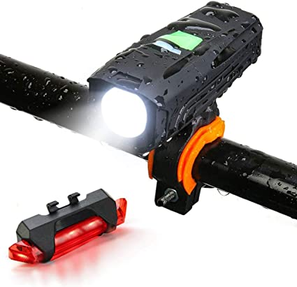 Bright 5 modes Lighting USB Rechargeable Bike Bicycle Headlight Front Back Light