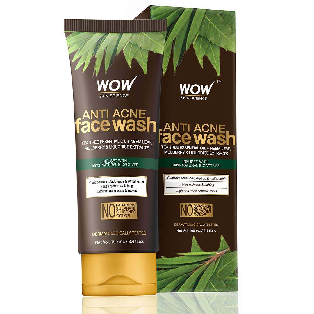 WOW Skin Science Anti Acne Face Wash - Oil Free - No Parabens, Sulphate, Silicones & Color, 100 ml