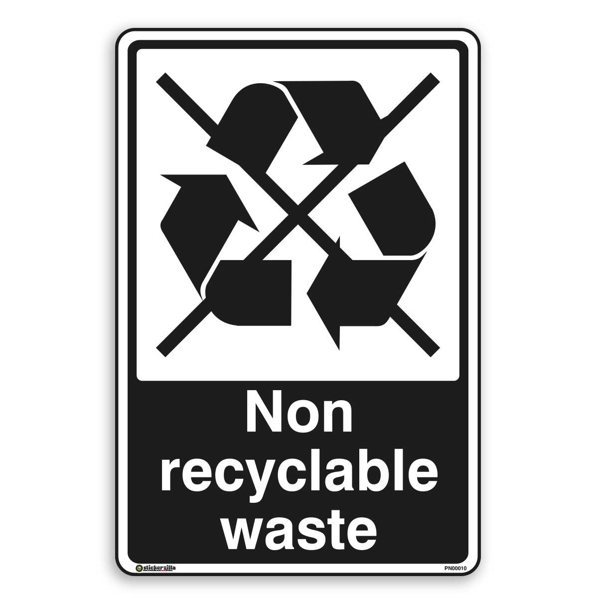 Non Recycling Waste - Recycling Sign - Self Adhesive Sticker (A3 - 297mm x 420mm) Stickerzilla