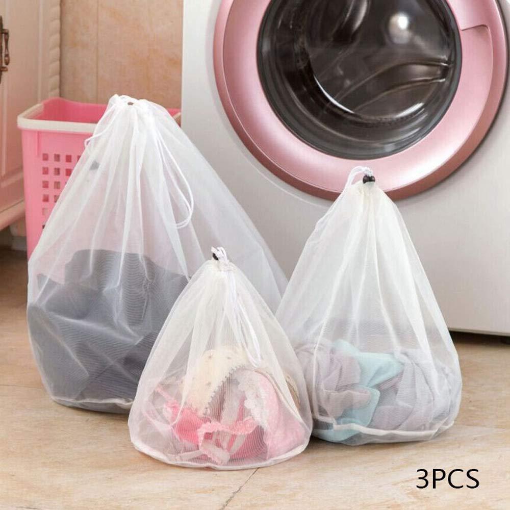 Rishx メッシュ洗濯物ランドリーバッグ 3個 再利用可能 紐付き ナイロン 下着カバー ブラ、ランジェリー、靴下、タイツ、ベビー服用 (3サイズセット) B07GRKPMJG