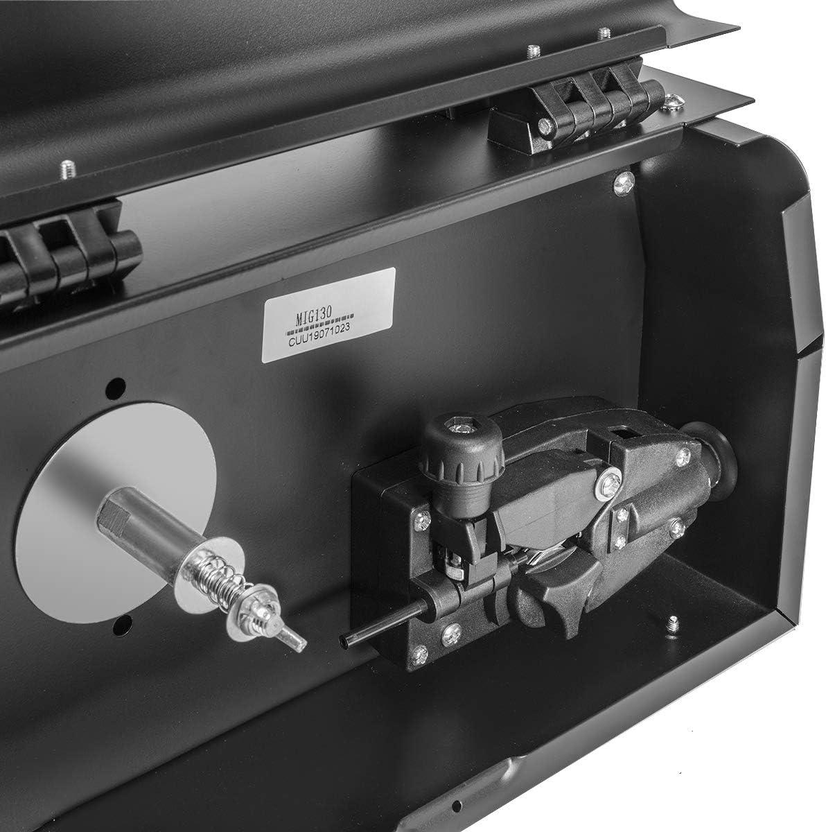 Stark MIG 130I Welder No Gas Flux Core Wire Gasless Automatic Feed Welder IGBT Inverter MIG 130 Amp Black